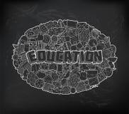 Istruzione - iscrizione della mano e schizzo degli elementi di scarabocchi su Chalkb Illustrazione Vettoriale
