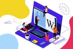 Istruzione isometrica di concetto Illustrazione per istruzione online, addestramento online, royalty illustrazione gratis