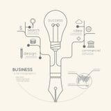 Istruzione lineare piana Pen Tree di affari di Infographic con luce Fotografia Stock Libera da Diritti