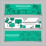 Istruzione online ed imparare le insegne orizzontali di web con la linea Fotografia Stock Libera da Diritti