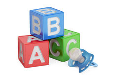 Istruzione per il concetto del bambino, cubi di ABC con la tettarella renderin 3D Fotografia Stock