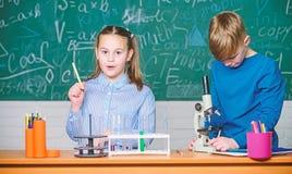 Istruzione scolastica Analisi chimica I bambini studiano la chimica Lezione di chimica della scuola Laboratorio della scuola Raga fotografia stock libera da diritti