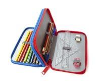 Istruzione scolastica dei righelli della cassa di matita immagini stock