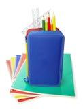 Istruzione scolastica dei righelli della cassa di matita Fotografia Stock Libera da Diritti