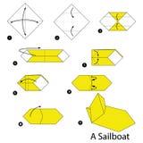 Istruzioni graduali come rendere ad origami una barca a vela illustrazione vettoriale