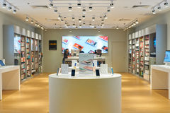 IStudio Apple Premium Reseller store. SINGAPORE - CIRCA SEPTEMBER, 2016: iStudio Apple Premium Reseller store at Singapore Changi Airport. Changi Airport is one royalty free stock photo