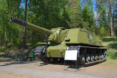 ISU-152 - советская самоходная установка артиллерии во время Второй Мировой Войны Стоковое Изображение