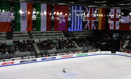 ISU figure skating European champ 2010. ISU figure skating European championship Turin 2010, stadium top view with nations flags Stock Photography