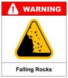 Isymbol de queda do vetor do sinal de aviso das rochas ilustração do vetor
