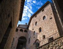 Itália, casas históricas, fortaleza medieval, cidade velha, Imagem de Stock