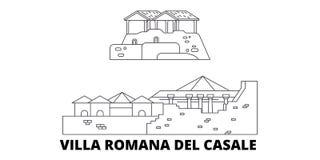Itália, linha grupo de Romana Del Casale da casa de campo da skyline do curso Itália, ilustração do vetor da cidade do esboço de  ilustração royalty free