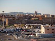 Itália, Livorno, o 23 de junho de 2017: vista na sagacidade da entrada do porto de Livorno fotos de stock royalty free