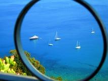 Itália, Sicília: Vista da baía de Taormina fotos de stock