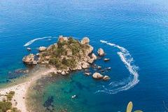 Itália: Vista aérea da ilha e do Isola Bella Imagem de Stock