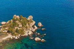 Itália: Vista aérea da ilha e do Isola Bella Fotografia de Stock
