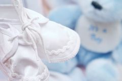 It's a boy!. – Baby booties stock photography