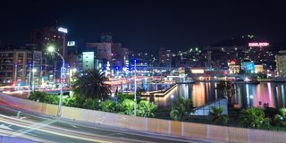 It's harbour night Keelung in Taiwan stock images