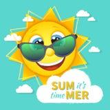 It's lata czas! Shinny słońce w okularach przeciwsłonecznych z znakiem na chmurze Lata tło royalty ilustracja