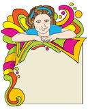 It's A Party. Vector art in Illustrator 8. Young girl with colorful background. Great for party invitations, newsletters, kids posters, and so much more Royalty Free Stock Image