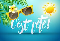 It's summer in French : C'est l'été. Vector illustration Stock Photography