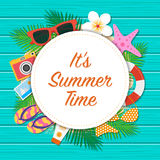 It's summer time background. Summer template design. Vector Il. It's summer time background. Top view with sunglasses, sun screen, starfish, camera, flip Royalty Free Stock Images