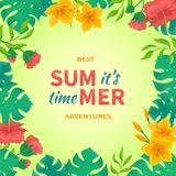 It's Summer time! Flowers and buds of hibiscus, leaves monstera and palm. Tropical template design. Exotic background. Vector illustration Royalty Free Stock Images
