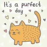 It's una tarjeta del día del purfect con un gato lindo stock de ilustración