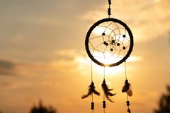It`s A Native American Dream Catcher And Golden Rays Of The Sunset Royalty Free Stock Photography