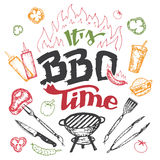 It S Barbecue Time Hand Drawn Elements Set Stock Photography