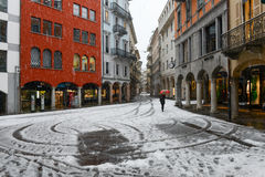It S Snowing On Old Part Of Lugano On Switzerland. Royalty Free Stock Photo