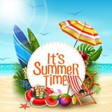 It`s Summer Time Banner Design With White Circle For Text And Beach Elements In Sand Beach Background Royalty Free Stock Image