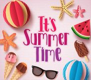 It`s Summer Time Vector Background Design With Colorful Text Royalty Free Stock Photos