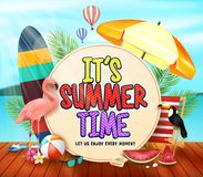 It`s Summer Time With Yellowish Circle For Text With Palm Leaves, Umbrella, Surfboard, Flamingo, Toucan, Watermelon Stock Images