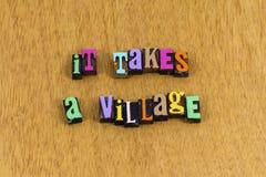 Free It Takes Village Raise Child Children Help Letterpress Phrase Stock Photography - 156354002