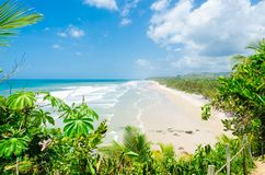 Itacarezinho beach deserted, seen from above amid the green vegetation. Beautiful sea on the horizon. Itacarezinho beach deserted, seen from above amid the royalty free stock images