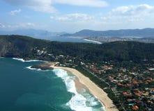 Itacoatiara beach view of Costao Mountain top. In BRazil stock images