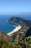 Itacoatiara beach view of the Mourao Mountain top. Niterói, Brazil Royalty Free Stock Photo