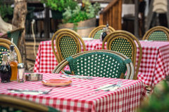 Itailan style restaurant. With square tablecloths at Tel Aviv, Israel Royalty Free Stock Photo
