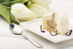 Itailan vanilla icecream on white plate. Stock Photos