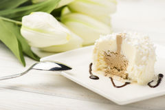 Itailan vanilla icecream on white plate. Stock Image