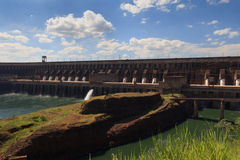 Конец запруды Itaipu, Бразилия, Парагвай Стоковое фото RF
