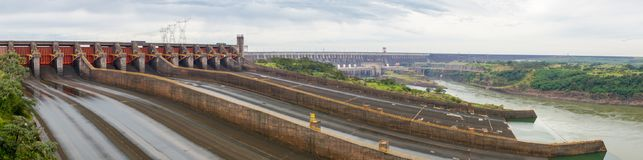 Itaipu dam in Paraguay. Water has been drained, panorama shot Royalty Free Stock Image