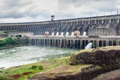 Itaipu dam. On river Parana on the border of Brazil and Paraguay stock photos
