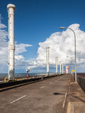 Itaipu Hydroeletric Power Plant. On top of the dam of Itaipu Hydroeletric Power Plant with its aspiration columns Stock Image