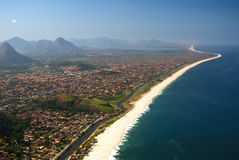 Itaipuacu beach view of the Mourao Mountain top. Marica, Brazil royalty free stock photos
