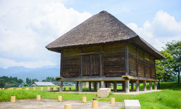 Itakura或武器商店房子(A零件Kikuchi城堡古老日本) 免版税库存图片