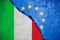 Italexit blue european union EU flag on broken wall and half italian flag, vote  for referendum italy exit from europe Stock Photo