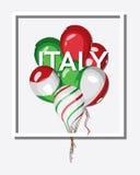 Italië Bos van ballons met Italiaanse vlagkleuren Stock Afbeeldingen