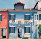 Italië Burano Blauw Huis Royalty-vrije Stock Foto