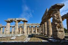 Italië, Campania, Paestum - Tempel van Hera Stock Foto